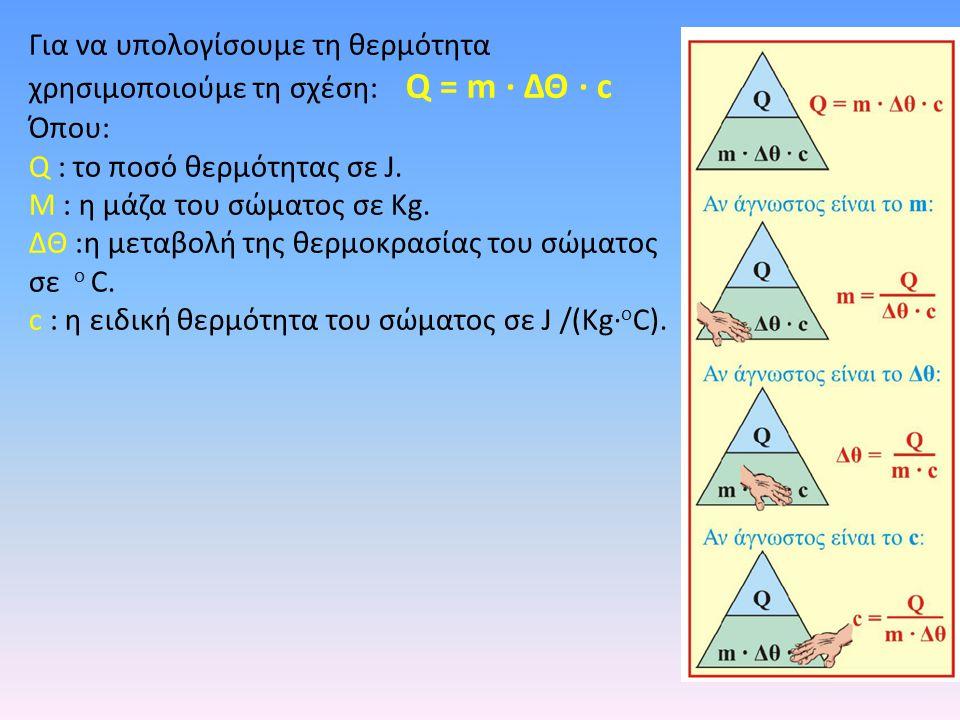 Για να υπολογίσουμε τη θερμότητα χρησιμοποιούμε τη σχέση: Q = m · ΔΘ · c Όπου: Q : το ποσό θερμότητας σε J. M : η μάζα του σώματος σε Κg. ΔΘ :η μεταβο