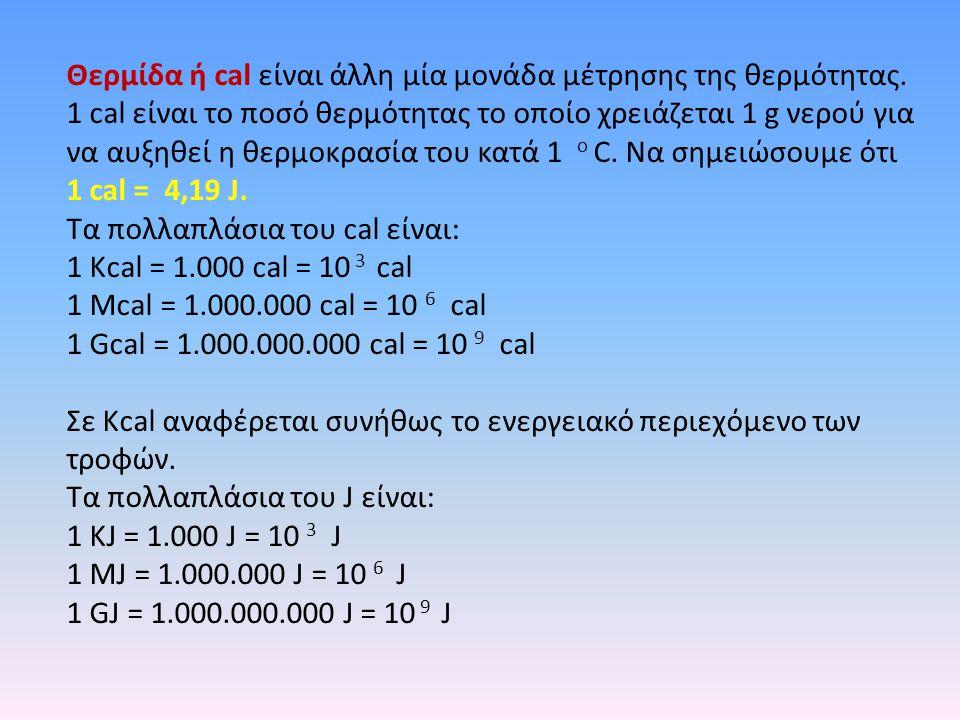 Θερμίδα ή cal είναι άλλη μία μονάδα μέτρησης της θερμότητας. 1 cal είναι το ποσό θερμότητας το οποίο χρειάζεται 1 g νερού για να αυξηθεί η θερμοκρασία