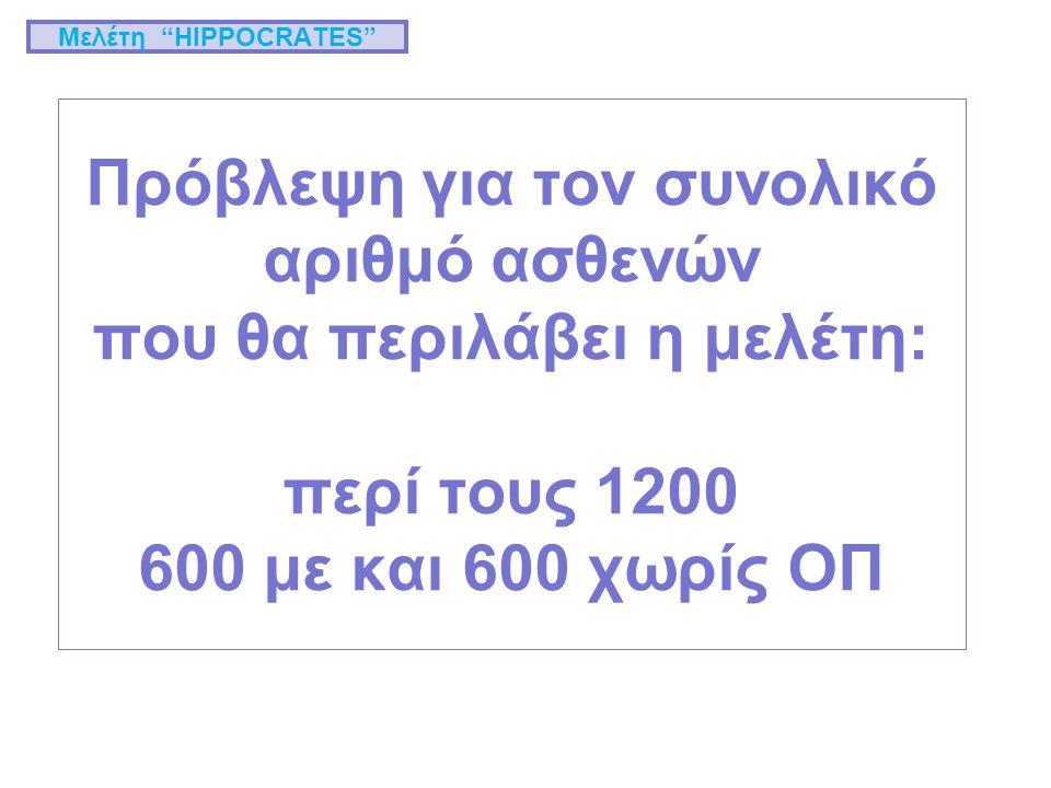 Πρόβλεψη για τον συνολικό αριθμό ασθενών που θα περιλάβει η μελέτη: περί τους 1200 600 με και 600 χωρίς ΟΠ Μελέτη HIPPOCRATES