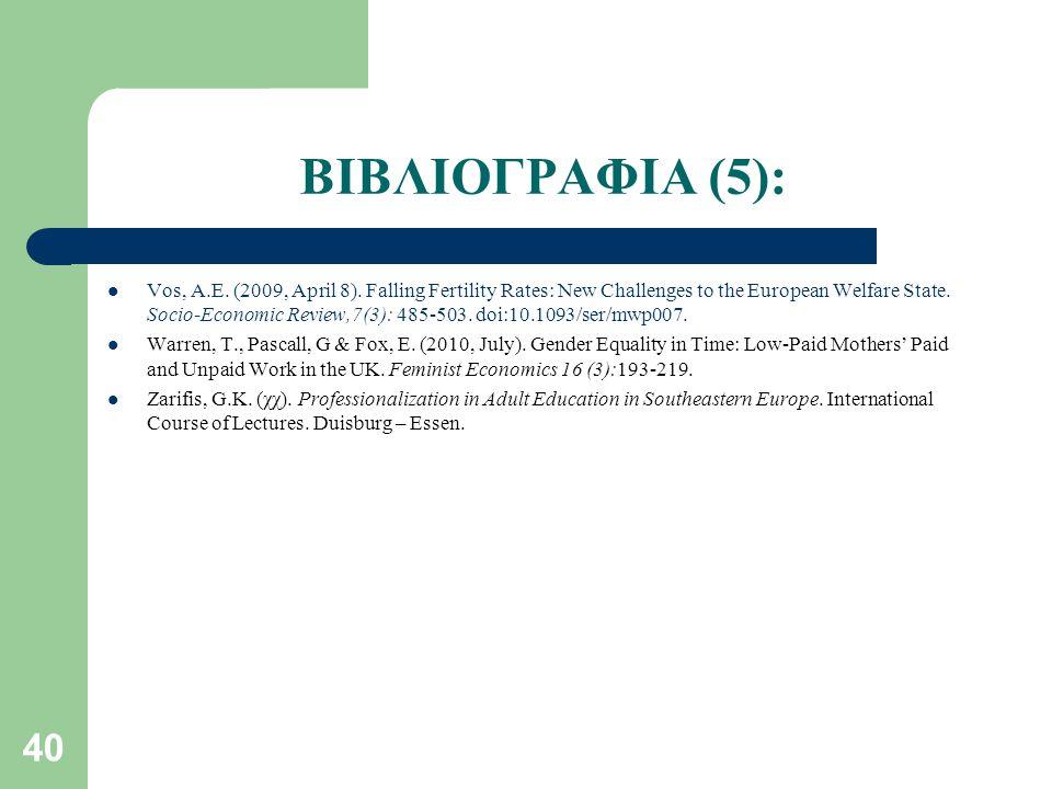 40 ΒΙΒΛΙΟΓΡΑΦΙΑ (5): Vos, A.E.(2009, April 8).