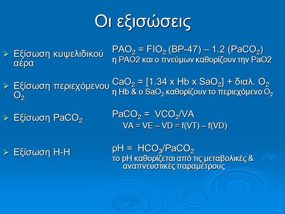 Οι εξισώσεις  Εξίσωση κυψελιδικού αέρα  Εξίσωση περιεχόμενου Ο 2  Εξίσωση PaCO 2  Εξίσωση H-H PAO 2 = FIO 2 (BP-47) – 1.2 (PaCO 2 ) η PAO2 και ο πνεύμων καθορίζουν την PaO2 CaO 2 = [1.34 x Hb x SaO 2 ] + διαλ.
