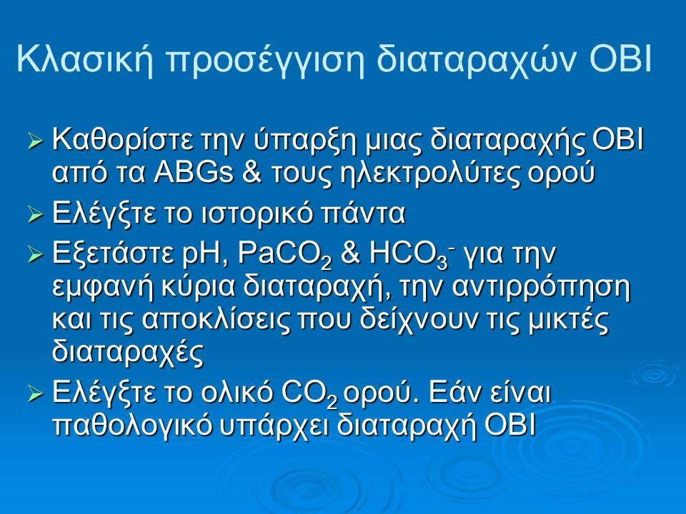 Κλασική προσέγγιση διαταραχών ΟΒΙ  Καθορίστε την ύπαρξη μιας διαταραχής ΟΒΙ από τα ABGs & τους ηλεκτρολύτες ορού  Ελέγξτε το ιστορικό πάντα  Εξετάστε pH, PaCO 2 & HCO 3 - για την εμφανή κύρια διαταραχή, την αντιρρόπηση και τις αποκλίσεις που δείχνουν τις μικτές διαταραχές  Ελέγξτε το ολικό CO 2 ορού.