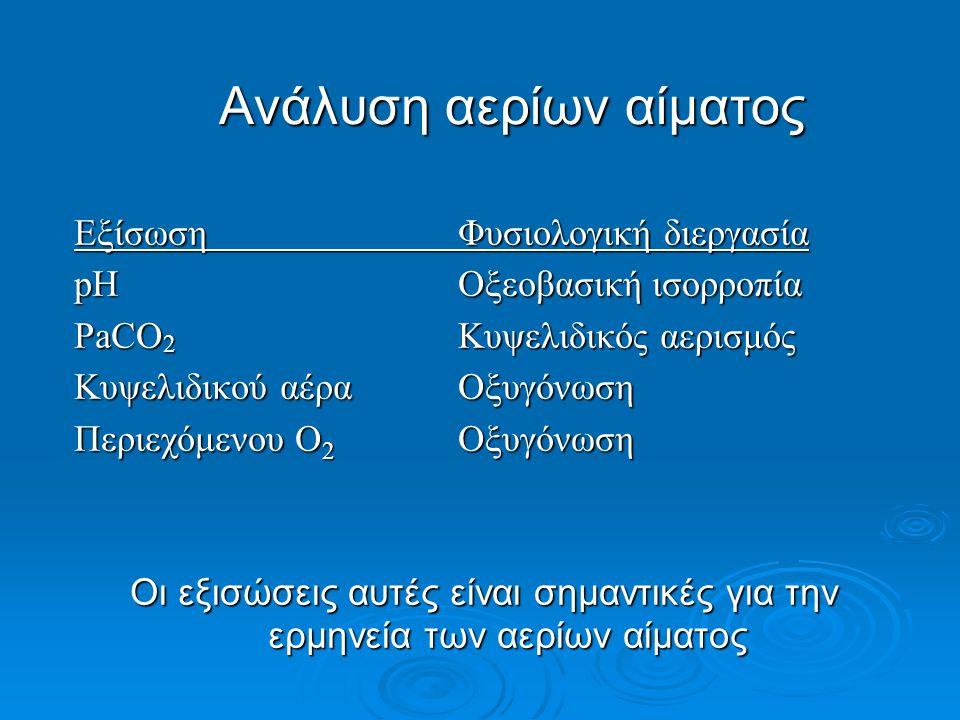 Ανάλυση αερίων αίματος ΕξίσωσηΦυσιολογική διεργασία pH Οξεοβασική ισορροπία PaCO 2 Κυψελιδικός αερισμός Κυψελιδικού αέραΟξυγόνωση Περιεχόμενου Ο 2 Οξυγόνωση Οι εξισώσεις αυτές είναι σημαντικές για την ερμηνεία των αερίων αίματος