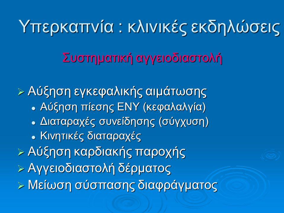 Υπερκαπνία : κλινικές εκδηλώσεις Συστηματική αγγειοδιαστολή  Αύξηση εγκεφαλικής αιμάτωσης Αύξηση πίεσης ΕΝΥ (κεφαλαλγία) Αύξηση πίεσης ΕΝΥ (κεφαλαλγία) Διαταραχές συνείδησης (σύγχυση) Διαταραχές συνείδησης (σύγχυση) Κινητικές διαταραχές Κινητικές διαταραχές  Αύξηση καρδιακής παροχής  Αγγειοδιαστολή δέρματος  Μείωση σύσπασης διαφράγματος