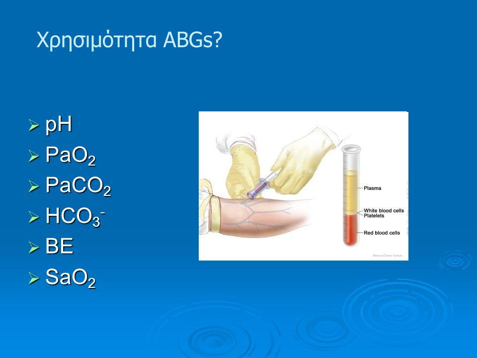 Χρησιμότητα ABGs?  pH  PaO 2  PaCO 2  HCO 3 -  BE  SaO 2
