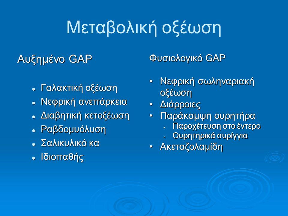 Μεταβολική οξέωση Αυξημένο GAP Γαλακτική οξέωση Γαλακτική οξέωση Νεφρική ανεπάρκεια Νεφρική ανεπάρκεια Διαβητική κετοξέωση Διαβητική κετοξέωση Ραβδομυόλυση Ραβδομυόλυση Σαλικυλικά κα Σαλικυλικά κα Ιδιοπαθής Ιδιοπαθής Φυσιολογικό GAP Νεφρική σωληναριακή οξέωσηΝεφρική σωληναριακή οξέωση ΔιάρροιεςΔιάρροιες Παράκαμψη ουρητήραΠαράκαμψη ουρητήρα Παροχέτευση στο έντερο Ουρητηρικά συρίγγια ΑκεταζολαμίδηΑκεταζολαμίδη