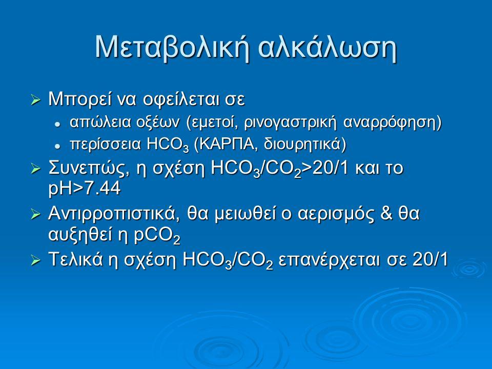 Μεταβολική αλκάλωση  Μπορεί να οφείλεται σε απώλεια οξέων (εμετοί, ρινογαστρική αναρρόφηση) απώλεια οξέων (εμετοί, ρινογαστρική αναρρόφηση) περίσσεια HCO 3 (ΚΑΡΠΑ, διουρητικά) περίσσεια HCO 3 (ΚΑΡΠΑ, διουρητικά)  Συνεπώς, η σχέση HCO 3 /CO 2 >20/1 και το pΗ>7.44  Αντιρροπιστικά, θα μειωθεί ο αερισμός & θα αυξηθεί η pCO 2  Τελικά η σχέση HCO 3 /CO 2 επανέρχεται σε 20/1