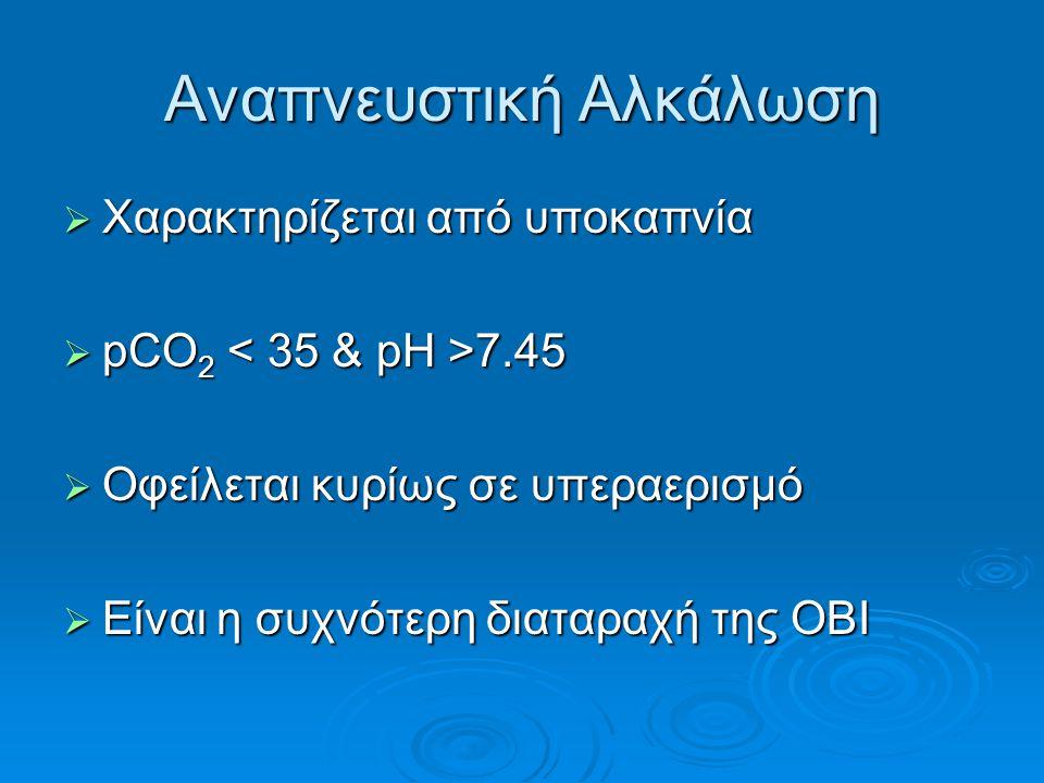 Αναπνευστική Αλκάλωση  Χαρακτηρίζεται από υποκαπνία  pCO 2 7.45  Οφείλεται κυρίως σε υπεραερισμό  Είναι η συχνότερη διαταραχή της ΟΒΙ