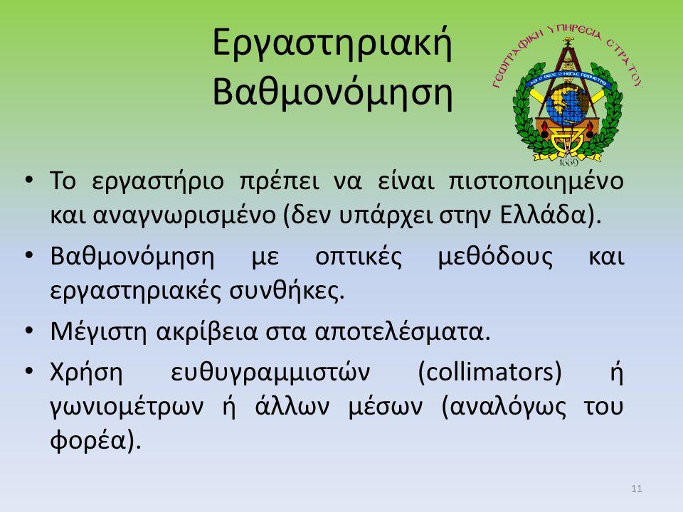 Εργαστηριακή Βαθμονόμηση Το εργαστήριο πρέπει να είναι πιστοποιημένο και αναγνωρισμένο (δεν υπάρχει στην Ελλάδα).