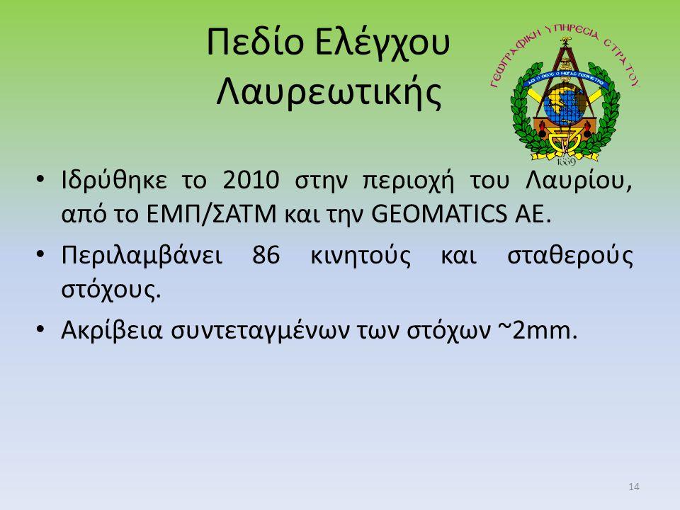 Πεδίο Ελέγχου Λαυρεωτικής Ιδρύθηκε το 2010 στην περιοχή του Λαυρίου, από το ΕΜΠ/ΣΑΤΜ και την GEOMATICS AE.