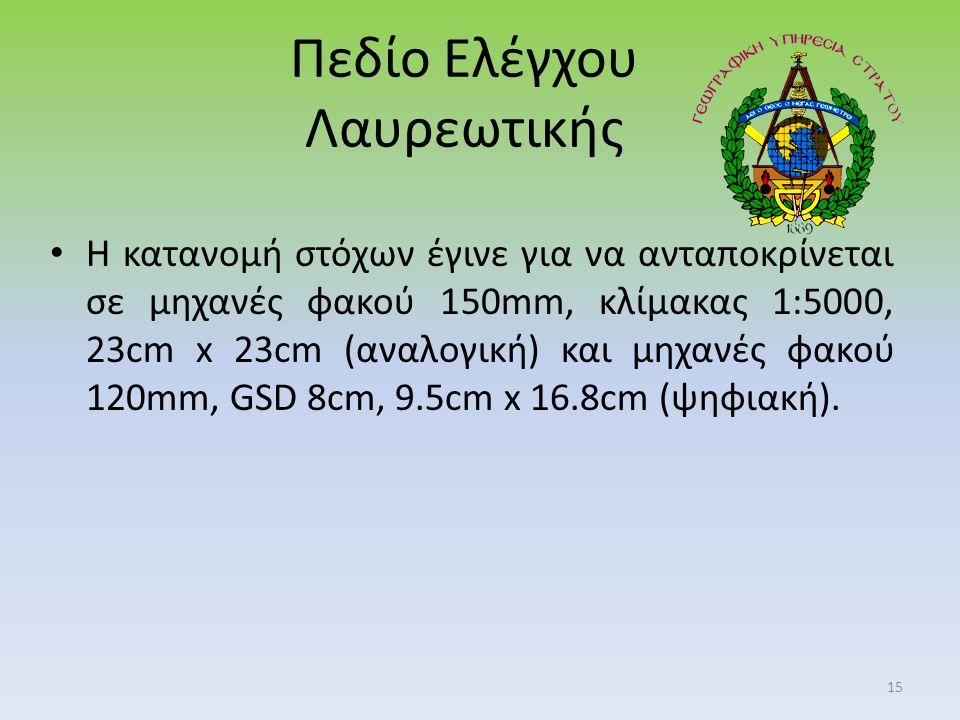 Πεδίο Ελέγχου Λαυρεωτικής Η κατανομή στόχων έγινε για να ανταποκρίνεται σε μηχανές φακού 150mm, κλίμακας 1:5000, 23cm x 23cm (αναλογική) και μηχανές φακού 120mm, GSD 8cm, 9.5cm x 16.8cm (ψηφιακή).