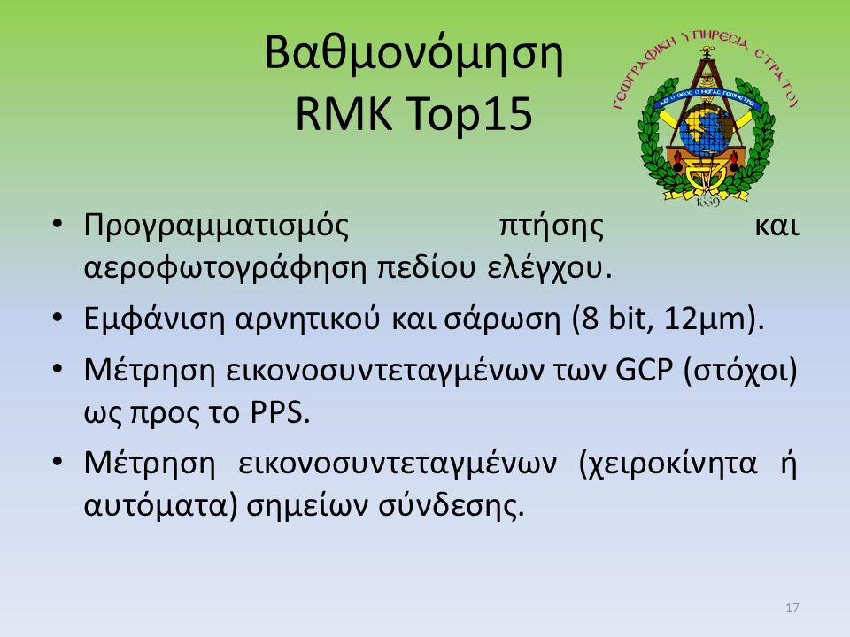 Βαθμονόμηση RMK Top15 Προγραμματισμός πτήσης και αεροφωτογράφηση πεδίου ελέγχου.