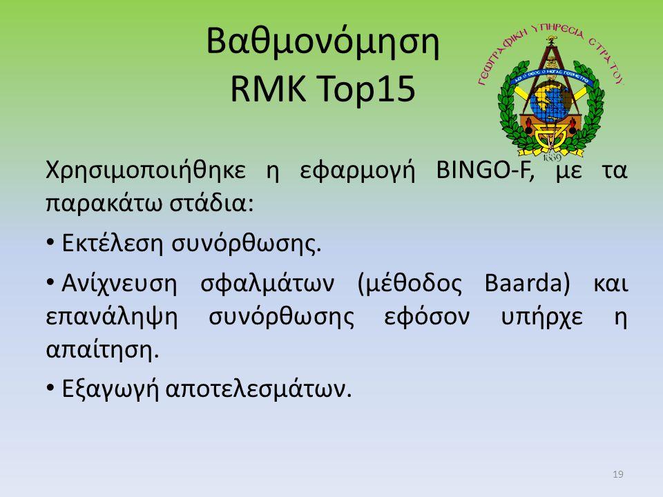 Βαθμονόμηση RMK Top15 Χρησιμοποιήθηκε η εφαρμογή BINGO-F, με τα παρακάτω στάδια: Εκτέλεση συνόρθωσης.