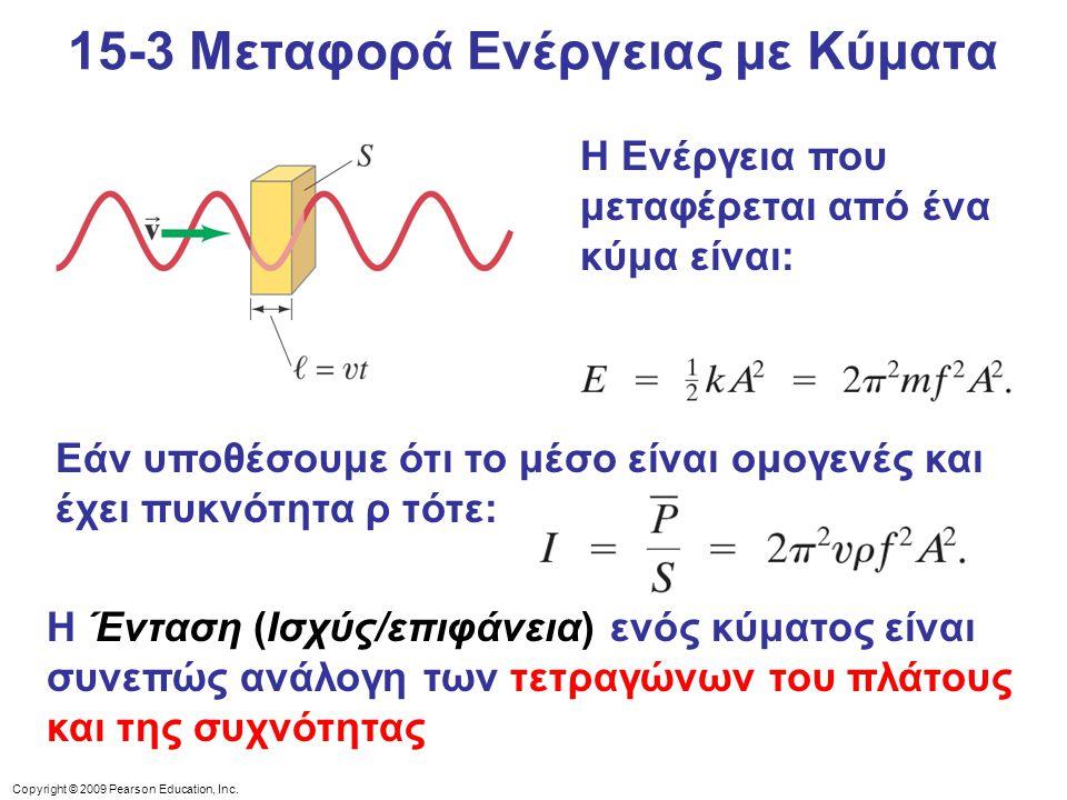 Copyright © 2009 Pearson Education, Inc. Η Ενέργεια που μεταφέρεται από ένα κύμα είναι: Εάν υποθέσουμε ότι το μέσο είναι ομογενές και έχει πυκνότητα ρ