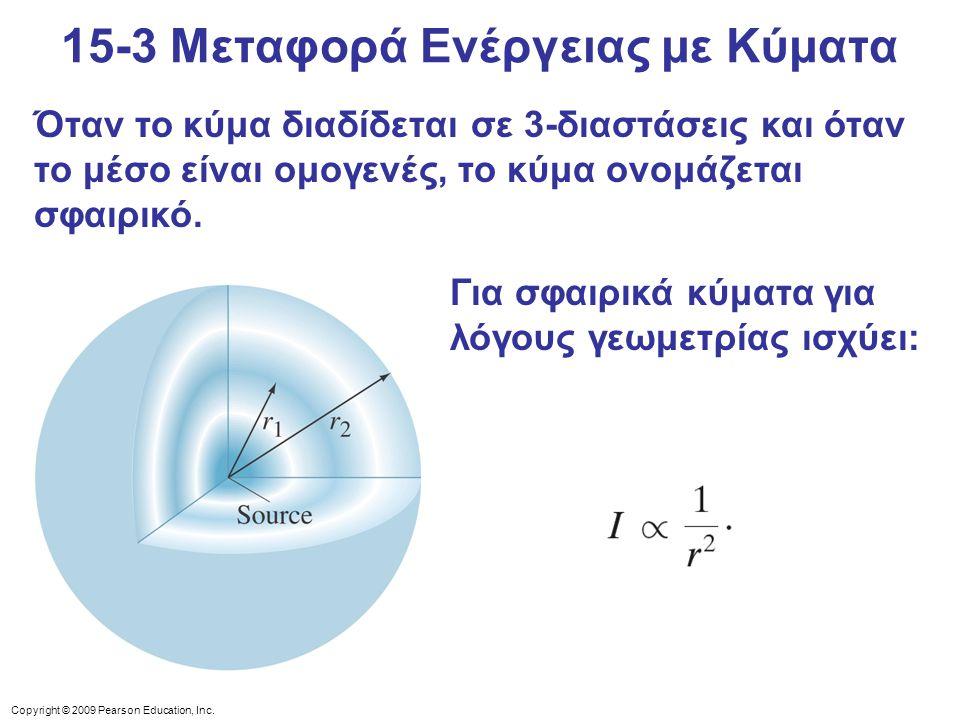 Copyright © 2009 Pearson Education, Inc. Όταν το κύμα διαδίδεται σε 3-διαστάσεις και όταν το μέσο είναι ομογενές, το κύμα ονομάζεται σφαιρικό. Για σφα