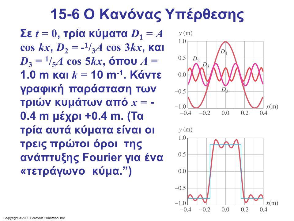 Copyright © 2009 Pearson Education, Inc. 15-6 Ο Κανόνας Υπέρθεσης Σε t = 0, τρία κύματα D 1 = A cos kx, D 2 = - 1 / 3 A cos 3kx, και D 3 = 1 / 5 A cos