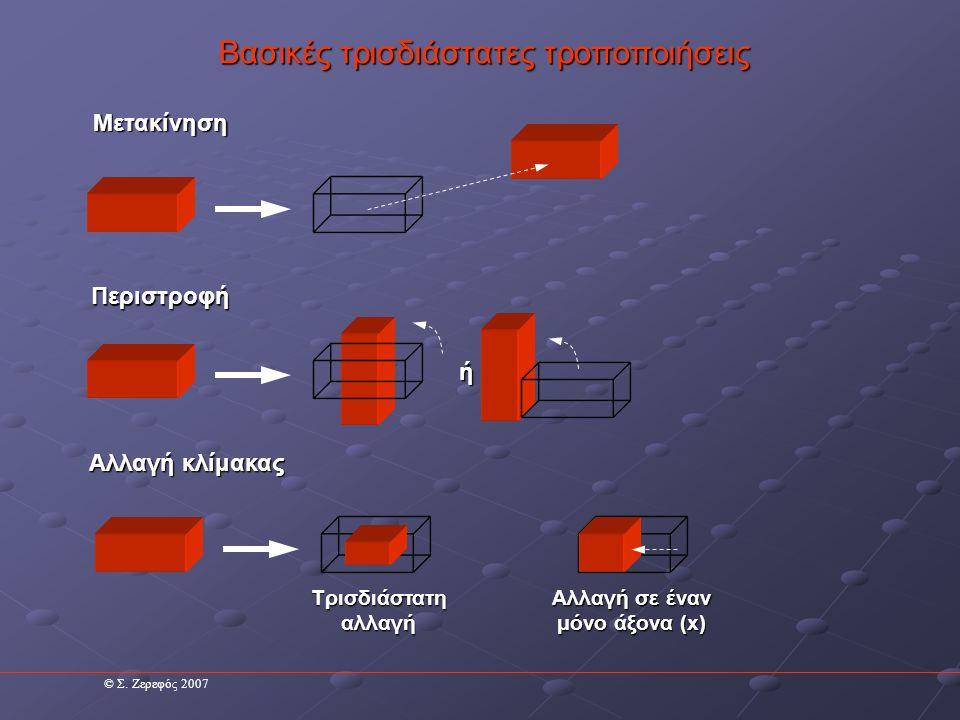 Βασικές τρισδιάστατες τροποποιήσεις Μετακίνηση Μετακίνηση κατά τον άξονα Χ κατά 10 μονάδες Αρχικά σημεία Σημεία μετά τη μεταβολή XYZXYZ 11568 Για τη μετακίνηση ενός αντικειμένου κατά κάποιο άξονα προσθέτουμε την ποσότητα της μετακίνησης στις συντεταγμένες των σημείων του αντίστοιχου άξονα.