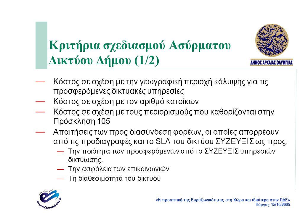 «Η προοπτική της Ευρυζωνικότητας στη Χώρα και ιδιαίτερα στην ΠΔΕ» Πύργος 15/10/2005 Κριτήρια σχεδιασμού Ασύρματου Δικτύου Δήμου (1/2) — Κόστος σε σχέσ
