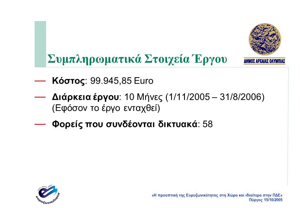 «Η προοπτική της Ευρυζωνικότητας στη Χώρα και ιδιαίτερα στην ΠΔΕ» Πύργος 15/10/2005 Συμπληρωματικά Στοιχεία Έργου — Κόστος: 99.945,85 Euro — Διάρκεια