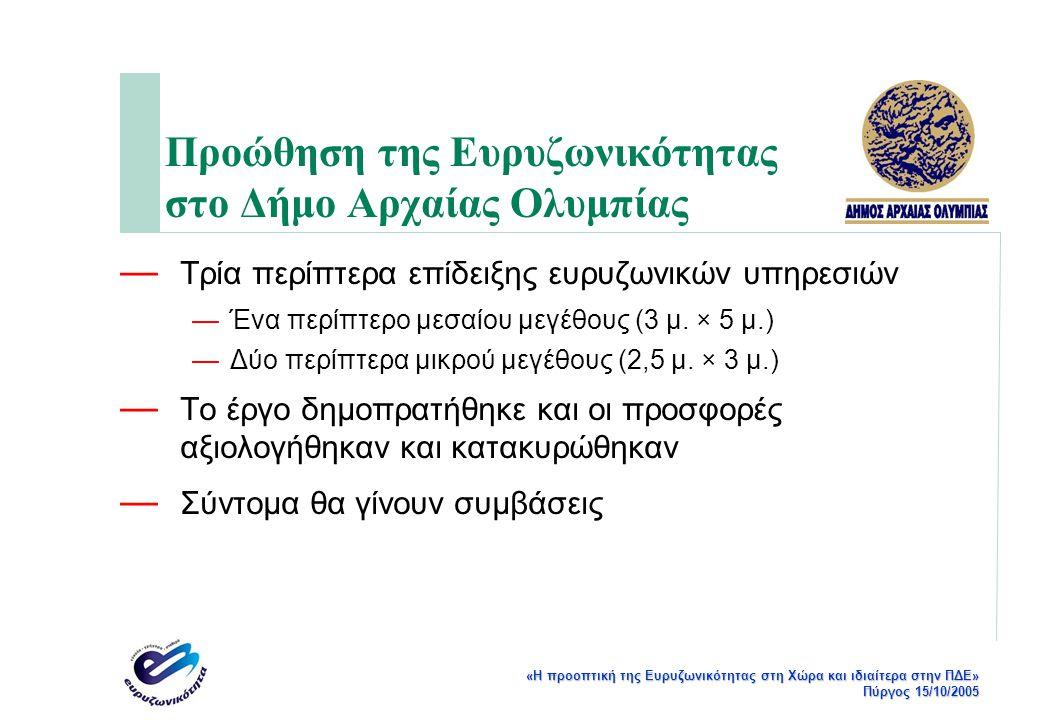 «Η προοπτική της Ευρυζωνικότητας στη Χώρα και ιδιαίτερα στην ΠΔΕ» Πύργος 15/10/2005 Χαρακτηρισμός Κόμβων Δικτύου — 1 Κεντρικός Κόμβος (BB) (Δημαρχείο Αρχαίας Ολυμπίας) — 6 Κόμβοι Διανομής (E) (Δημοτικά καταστήματα Πελοπίου, Λούβρου, Μουριάς, Πλατάνου, Φλόκα και Κέντρο Υγείας Αρχαίας Ολυμπίας) — 29 Τερματικοί Κόμβοι (A) (Σε φορείς) — 8 Κόμβοι Διανομής – Τερματικοί (E_A) (Δημοτικά καταστήματα Βασιλακίου, Κάμενας, Πουρναρίου, Ηράκλειας, Καυκωνίας, Σμίλα, Στρέφι, Χελιδονίου) — 2 Κόμβοι Αναμετάδοσης (REP) (Δημοτικά Διαμερίσματα Λιναριάς και Μοίρακα)