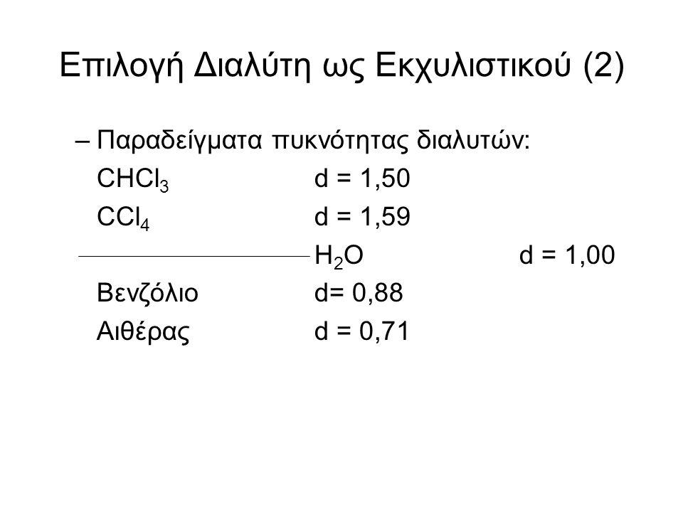 Επιλογή Διαλύτη ως Εκχυλιστικού (2) –Παραδείγματα πυκνότητας διαλυτών: CHCl 3 d = 1,50 CCl 4 d = 1,59 H 2 Od = 1,00 Βενζόλιοd= 0,88 Αιθέραςd = 0,71
