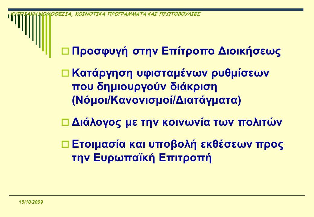 ΚΥΠΡΙΑΚΗ ΝΟΜΟΘΕΣΙΑ, ΚΟΙΝΟΤΙΚΑ ΠΡΟΓΡΑΜΜΑΤΑ ΚΑΙ ΠΡΩΤΟΒΟΥΛΙΕΣ 15/10/2009  Προσφυγή στην Επίτροπο Διοικήσεως  Κατάργηση υφισταμένων ρυθμίσεων που δημιουργούν διάκριση (Νόμοι/Κανονισμοί/Διατάγματα)  Διάλογος με την κοινωνία των πολιτών  Ετοιμασία και υποβολή εκθέσεων προς την Ευρωπαϊκή Επιτροπή