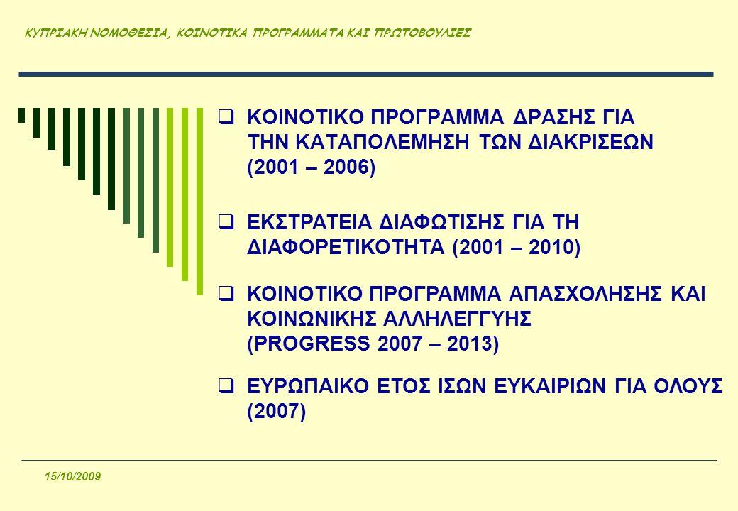 ΚΥΠΡΙΑΚΗ ΝΟΜΟΘΕΣΙΑ, ΚΟΙΝΟΤΙΚΑ ΠΡΟΓΡΑΜΜΑΤΑ ΚΑΙ ΠΡΩΤΟΒΟΥΛΙΕΣ 15/10/2009  ΚΟΙΝΟΤΙΚΟ ΠΡΟΓΡΑΜΜΑ ΔΡΑΣΗΣ ΓΙΑ ΤΗΝ ΚΑΤΑΠΟΛΕΜΗΣΗ ΤΩΝ ΔΙΑΚΡΙΣΕΩΝ (2001 – 2006)  ΕΚΣΤΡΑΤΕΙΑ ΔΙΑΦΩΤΙΣΗΣ ΓΙΑ ΤΗ ΔΙΑΦΟΡΕΤΙΚΟΤΗΤΑ (2001 – 2010)  ΚΟΙΝΟΤΙΚΟ ΠΡΟΓΡΑΜΜΑ ΑΠΑΣΧΟΛΗΣΗΣ ΚΑΙ ΚΟΙΝΩΝΙΚΗΣ ΑΛΛΗΛΕΓΓΥΗΣ (PROGRESS 2007 – 2013)  ΕΥΡΩΠΑΙΚΟ ΕΤΟΣ ΙΣΩΝ ΕΥΚΑΙΡΙΩΝ ΓΙΑ ΟΛΟΥΣ (2007)