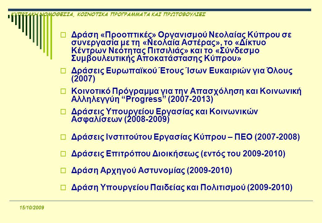 ΚΥΠΡΙΑΚΗ ΝΟΜΟΘΕΣΙΑ, ΚΟΙΝΟΤΙΚΑ ΠΡΟΓΡΑΜΜΑΤΑ ΚΑΙ ΠΡΩΤΟΒΟΥΛΙΕΣ 15/10/2009  Δράση «Προοπτικές» Οργανισμού Νεολαίας Κύπρου σε συνεργασία με τη «Νεολαία Αστέρας», το «Δίκτυο Κέντρων Νεότητας Πιτσιλιάς» και το «Σύνδεσμο Συμβουλευτικής Αποκατάστασης Κύπρου»  Δράσεις Ευρωπαϊκού Έτους Ίσων Ευκαιριών για Όλους (2007)  Κοινοτικό Πρόγραμμα για την Απασχόληση και Κοινωνική Αλληλεγγύη Progress (2007-2013)  Δράσεις Υπουργείου Εργασίας και Κοινωνικών Ασφαλίσεων (2008-2009)  Δράσεις Ινστιτούτου Εργασίας Κύπρου – ΠΕΟ (2007-2008)  Δράσεις Επιτρόπου Διοικήσεως (εντός του 2009-2010)  Δράση Αρχηγού Αστυνομίας (2009-2010)  Δράση Υπουργείου Παιδείας και Πολιτισμού (2009-2010)