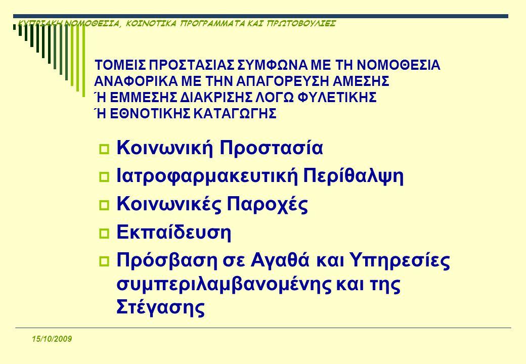 ΚΥΠΡΙΑΚΗ ΝΟΜΟΘΕΣΙΑ, ΚΟΙΝΟΤΙΚΑ ΠΡΟΓΡΑΜΜΑΤΑ ΚΑΙ ΠΡΩΤΟΒΟΥΛΙΕΣ 15/10/2009  Απαγόρευση διακρίσεων φυσικών προσώπων στο δημόσιο και ιδιωτικό τομέα  Εξαιρέσεις (παραδείγματα)
