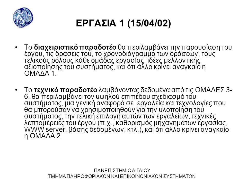 ΠΑΝΕΠΙΣΤΗΜΙΟ ΑΙΓΑΙΟΥ ΤΜΗΜΑ ΠΛΗΡΟΦΟΡΙΑΚΩΝ ΚΑΙ ΕΠΙΚΟΙΝΩΝΙΑΚΩΝ ΣΥΣΤΗΜΑΤΩΝ ΕΡΓΑΣΙΑ 1 (15/04/02) Το διαχειριστικό παραδοτέο θα περιλαμβάνει την παρουσίαση του έργου, τις δράσεις του, το χρονοδιάγραμμα των δράσεων, τους τελικούς ρόλους κάθε ομάδας εργασίας, ιδέες μελλοντικής αξιοποίησης του συστήματος, και ότι άλλο κρίνει αναγκαίο η ΟΜΑΔΑ 1.