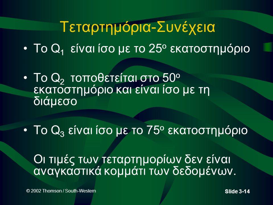 © 2002 Thomson / South-Western Slide 3-14 Τεταρτημόρια-Συνέχεια Το Q 1 είναι ίσο με το 25 ο εκατοστημόριο Το Q 2 τοποθετείται στο 50 ο εκατοστημόριο και είναι ίσο με τη διάμεσο Το Q 3 είναι ίσο με το 75 ο εκατοστημόριο Οι τιμές των τεταρτημορίων δεν είναι αναγκαστικά κομμάτι των δεδομένων.