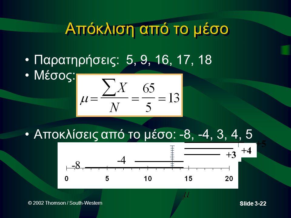 © 2002 Thomson / South-Western Slide 3-22 Απόκλιση από το μέσο Παρατηρήσεις: 5, 9, 16, 17, 18 Μέσος: Αποκλίσεις από το μέσο: -8, -4, 3, 4, 5 -8 -4 +3 +4 +5