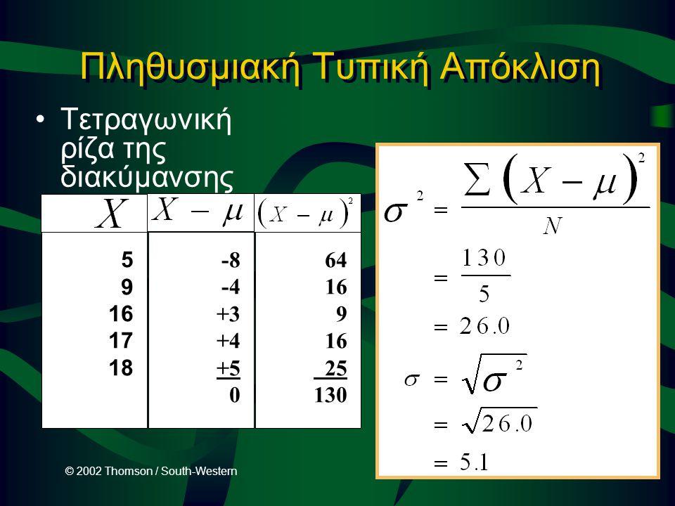 © 2002 Thomson / South-Western Slide 3-25 Πληθυσμιακή Τυπική Απόκλιση Τετραγωνική ρίζα της διακύμανσης 5 9 16 17 18 -8 -4 +3 +4 +5 0 64 16 9 16 25 130