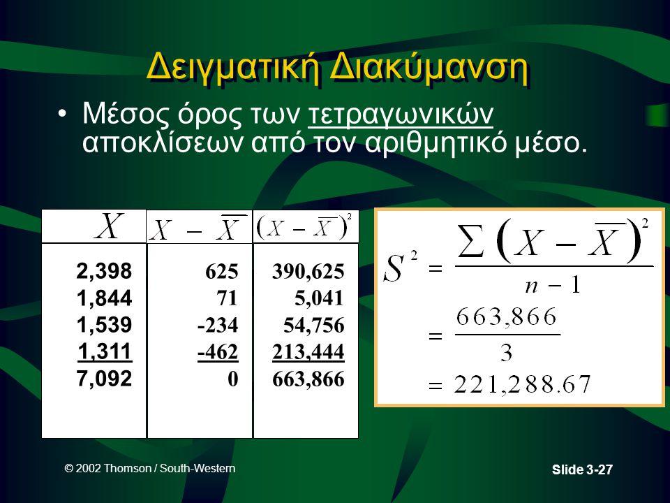 © 2002 Thomson / South-Western Slide 3-27 Δειγματική Διακύμανση Μέσος όρος των τετραγωνικών αποκλίσεων από τον αριθμητικό μέσο.