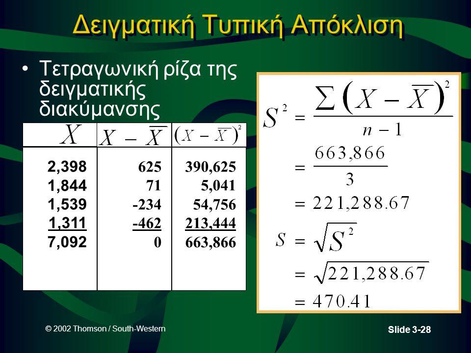 © 2002 Thomson / South-Western Slide 3-28 Δειγματική Τυπική Απόκλιση Τετραγωνική ρίζα της δειγματικής διακύμανσης 2,398 1,844 1,539 1,311 7,092 625 71 -234 -462 0 390,625 5,041 54,756 213,444 663,866