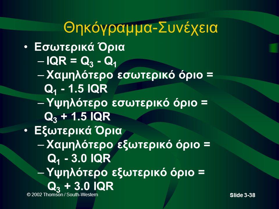 © 2002 Thomson / South-Western Slide 3-38 Θηκόγραμμα-Συνέχεια Εσωτερικά Όρια –IQR = Q 3 - Q 1 –Χαμηλότερο εσωτερικό όριο = Q 1 - 1.5 IQR –Υψηλότερο εσωτερικό όριο = Q 3 + 1.5 IQR Εξωτερικά Όρια –Χαμηλότερο εξωτερικό όριο = Q 1 - 3.0 IQR –Υψηλότερο εξωτερικό όριο = Q 3 + 3.0 IQR