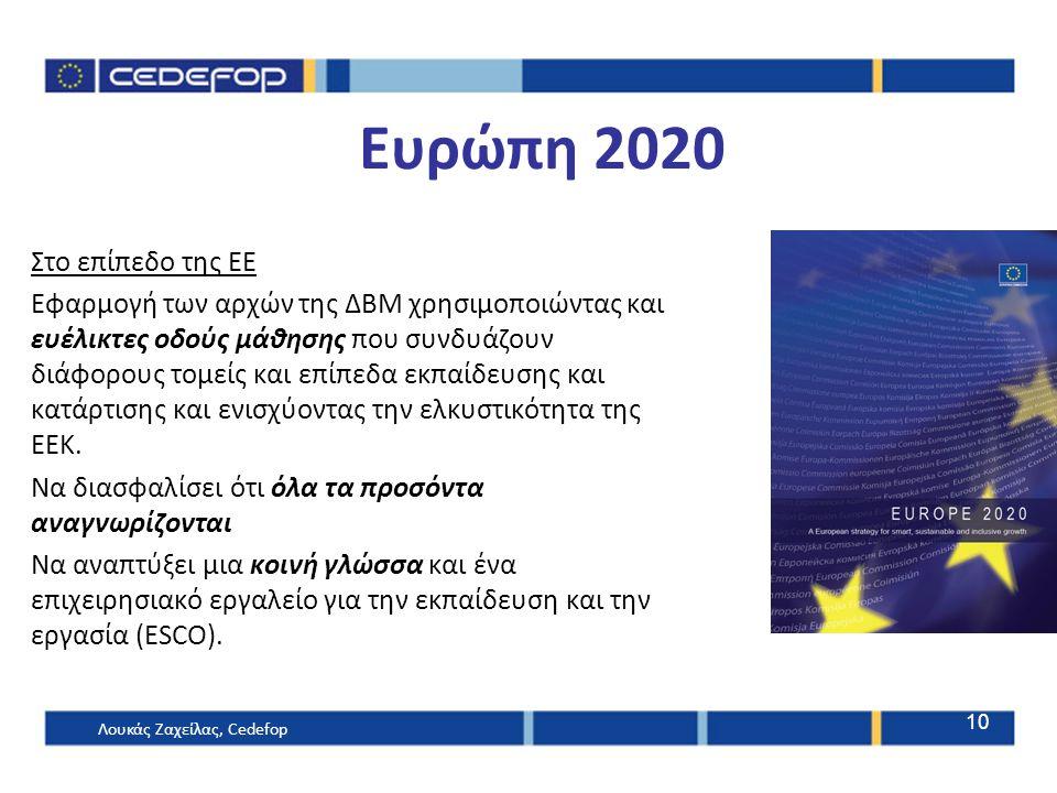 Ευρώπη 2020 Στο επίπεδο της ΕΕ Εφαρμογή των αρχών της ΔΒΜ χρησιμοποιώντας και ευέλικτες οδούς μάθησης που συνδυάζουν διάφορους τομείς και επίπεδα εκπαίδευσης και κατάρτισης και ενισχύοντας την ελκυστικότητα της ΕΕΚ.