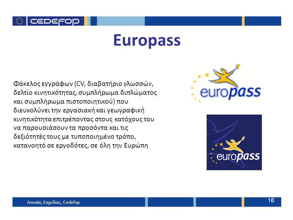 Φάκελος εγγράφων (CV, διαβατήριο γλωσσών, δελτίο κινητικότητας, συμπλήρωμα διπλώματος και συμπλήρωμα πιστοποιητικού) που διευκολύνει την εργασιακή και γεωγραφική κινητικότητα επιτρέποντας στους κατόχους του να παρουσιάσουν τα προσόντα και τις δεξιότητές τους με τυποποιημένο τρόπο, κατανοητό σε εργοδότες, σε όλη την Ευρώπη 16 Europass Λουκάς Ζαχείλας, Cedefop