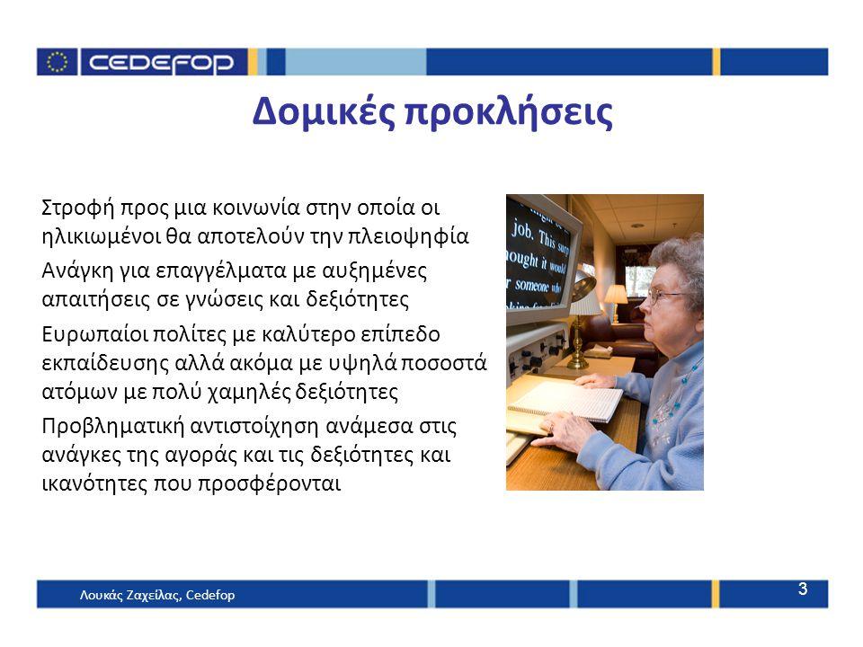 3 Δομικές προκλήσεις Στροφή προς μια κοινωνία στην οποία οι ηλικιωμένοι θα αποτελούν την πλειοψηφία Ανάγκη για επαγγέλματα με αυξημένες απαιτήσεις σε γνώσεις και δεξιότητες Ευρωπαίοι πολίτες με καλύτερο επίπεδο εκπαίδευσης αλλά ακόμα με υψηλά ποσοστά ατόμων με πολύ χαμηλές δεξιότητες Προβληματική αντιστοίχηση ανάμεσα στις ανάγκες της αγοράς και τις δεξιότητες και ικανότητες που προσφέρονται Λουκάς Ζαχείλας, Cedefop