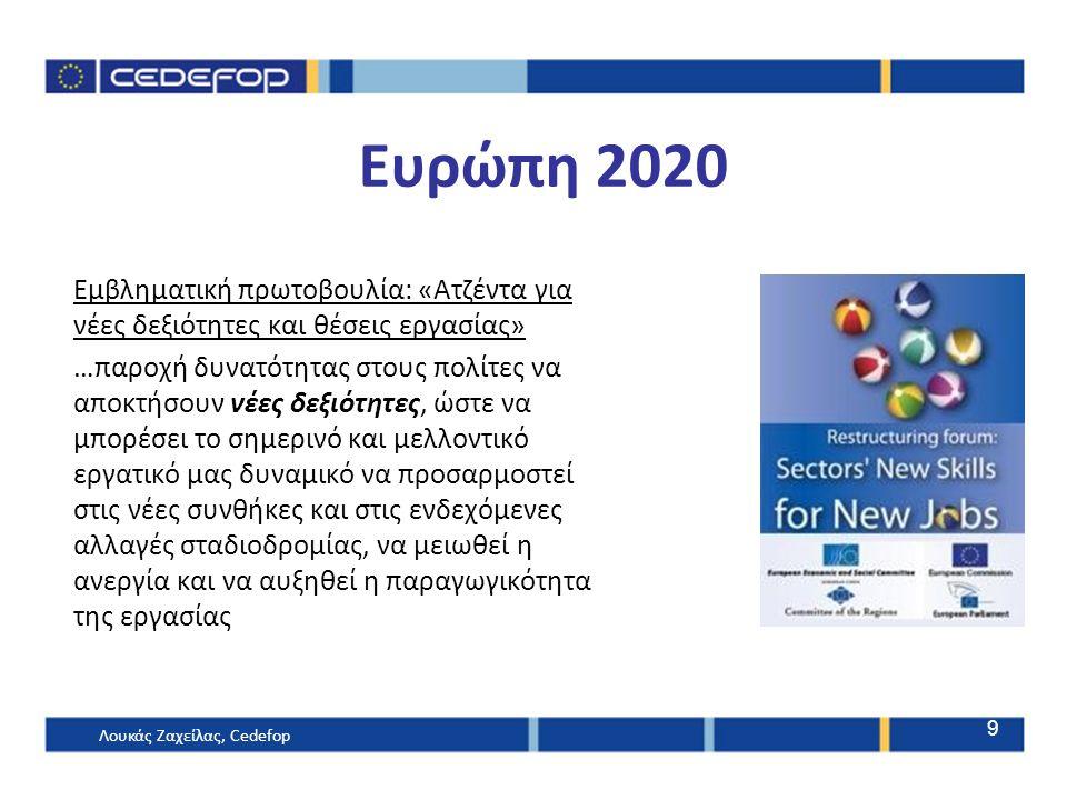 Ευρώπη 2020 Εμβληματική πρωτοβουλία: «Ατζέντα για νέες δεξιότητες και θέσεις εργασίας» …παροχή δυνατότητας στους πολίτες να αποκτήσουν νέες δεξιότητες, ώστε να μπορέσει το σημερινό και μελλοντικό εργατικό μας δυναμικό να προσαρμοστεί στις νέες συνθήκες και στις ενδεχόμενες αλλαγές σταδιοδρομίας, να μειωθεί η ανεργία και να αυξηθεί η παραγωγικότητα της εργασίας 9 Λουκάς Ζαχείλας, Cedefop