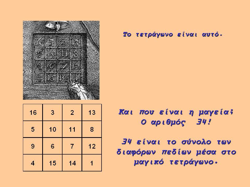 Το τετράγωνο είναι αυτό. Και που είναι η μαγεία; Ο αριθμός 34! 34 είναι το σύνολο των διαφόρων πεδίων μέσα στο μαγικό τετράγωνο.