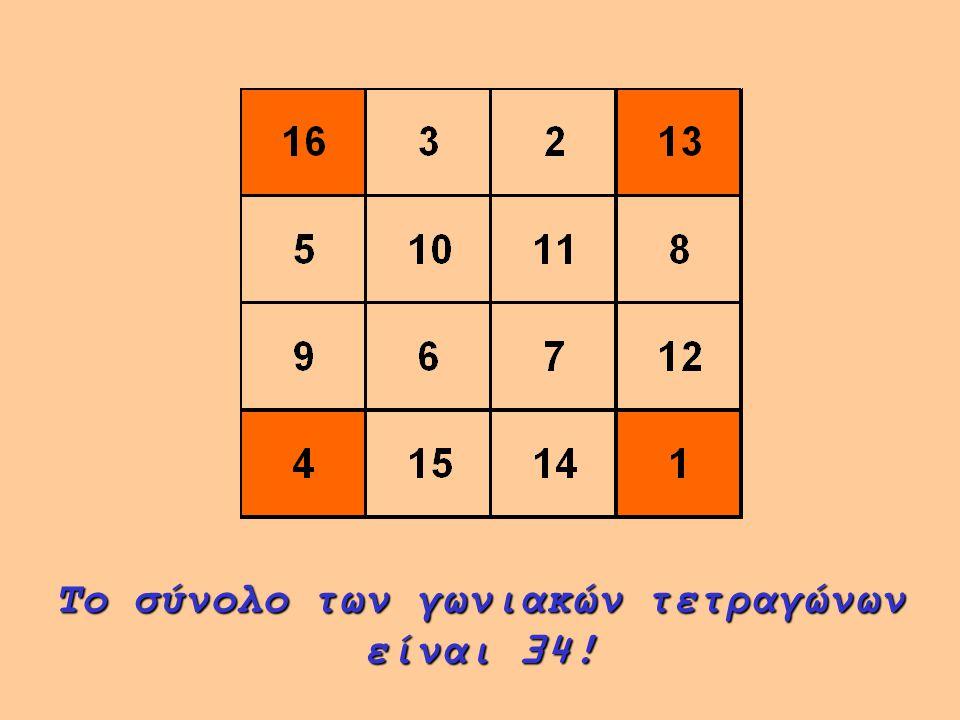 Μετακινηθείτε κατά ένα τετράγωνο δεξιόστροφα. Το σύνολο πάλι είναι 34!
