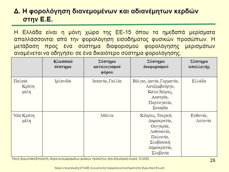 25 Κλασσικό σύστημα Σύστημα καταλογισμού φόρου Σύστημα διαφορισμού Σύστημα απαλλαγής Παλαιά Κράτη μέλη ΙρλανδίαΙσπανία, ΓαλλίαΒέλγιο, Δανία, Γερμανία,