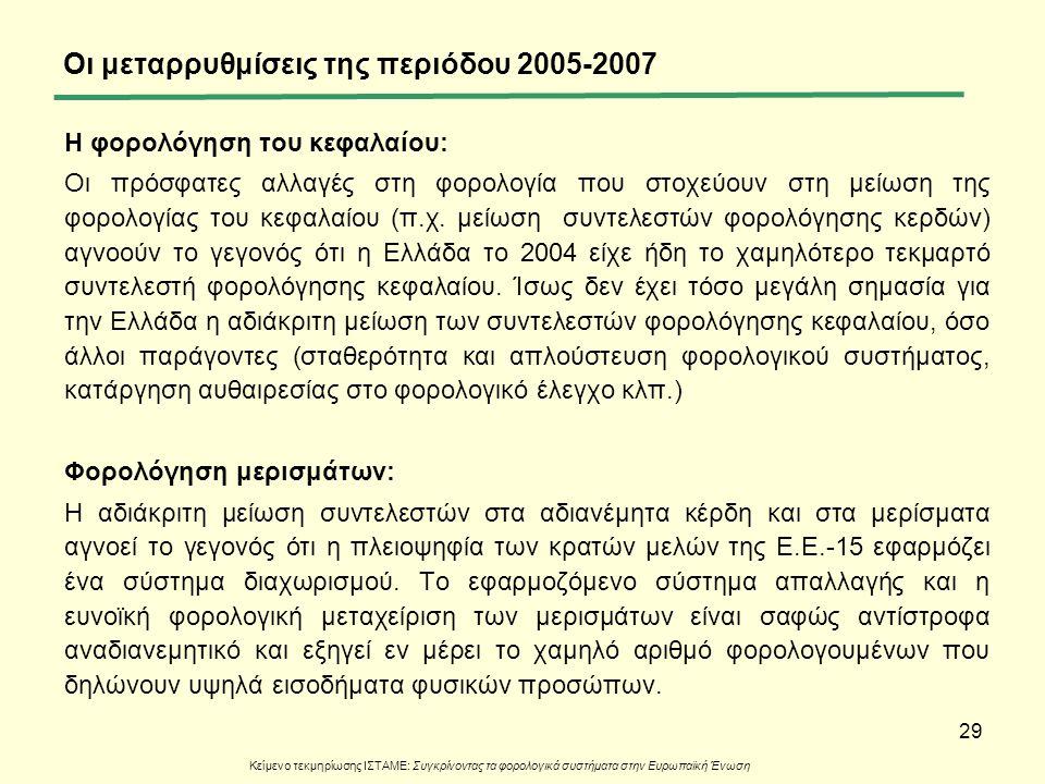 29 Οι μεταρρυθμίσεις της περιόδου 2005-2007 Η φορολόγηση του κεφαλαίου: Οι πρόσφατες αλλαγές στη φορολογία που στοχεύουν στη μείωση της φορολογίας του