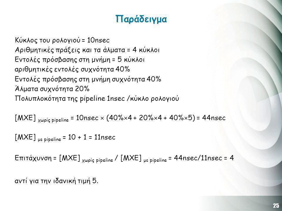 25 Παράδειγμα Κύκλος του ρολογιού = 10nsec Αριθμητικές πράξεις και τα άλματα = 4 κύκλοι Εντολές πρόσβασης στη μνήμη = 5 κύκλοι αριθμητικές εντολές συχνότητα 40% Εντολές πρόσβασης στη μνήμη συχνότητα 40% Άλματα συχνότητα 20% Πολυπλοκότητα της pipeline 1nsec /κύκλο ρολογιού [ΜΧΕ] χωρίς pipeline = 10nsec  (40%  4 + 20%  4 + 40%  5) = 44nsec [ΜΧΕ] με pipeline = 10 + 1 = 11nsec Επιτάχυνση = [ΜΧΕ] χωρίς pipeline / [ΜΧΕ] με pipeline = 44nsec/11nsec = 4 αντί για την ιδανική τιμή 5.