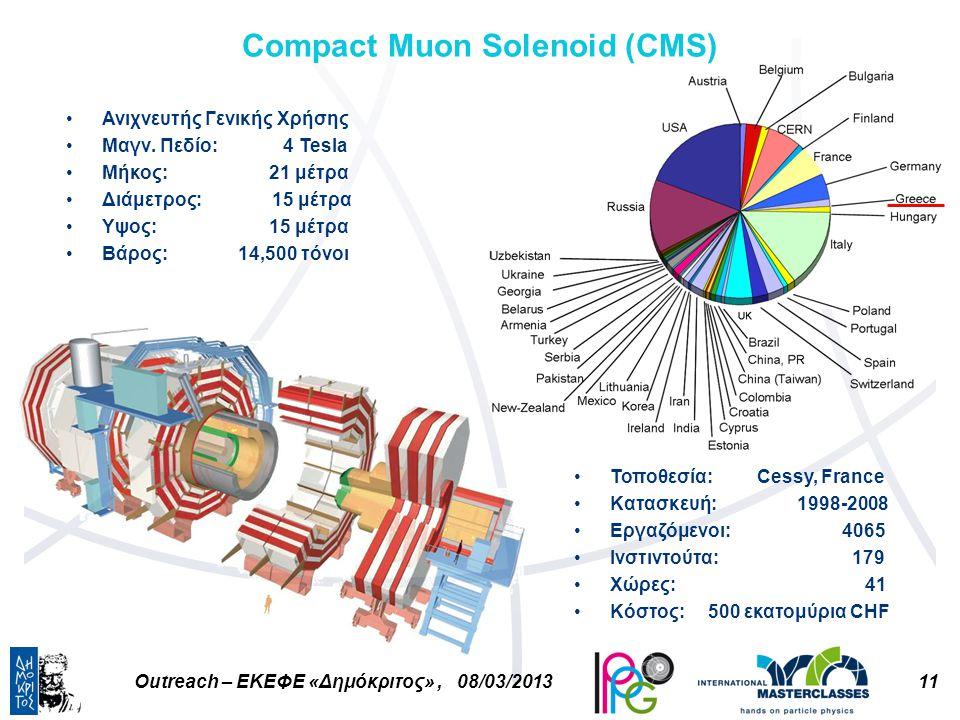 11Outreach – ΕΚΕΦΕ «Δημόκριτος», 08/03/2013 Compact Muon Solenoid (CMS) Ανιχνευτής Γενικής Χρήσης Μαγν.