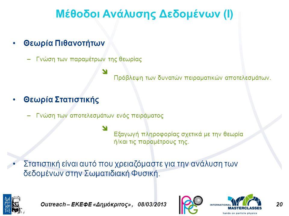 20Outreach – ΕΚΕΦΕ «Δημόκριτος», 08/03/2013 Μέθοδοι Ανάλυσης Δεδομένων (Ι) Θεωρία Πιθανοτήτων –Γνώση των παραμέτρων της θεωρίας Πρόβλεψη των δυνατών πειραματικών αποτελεσμάτων.