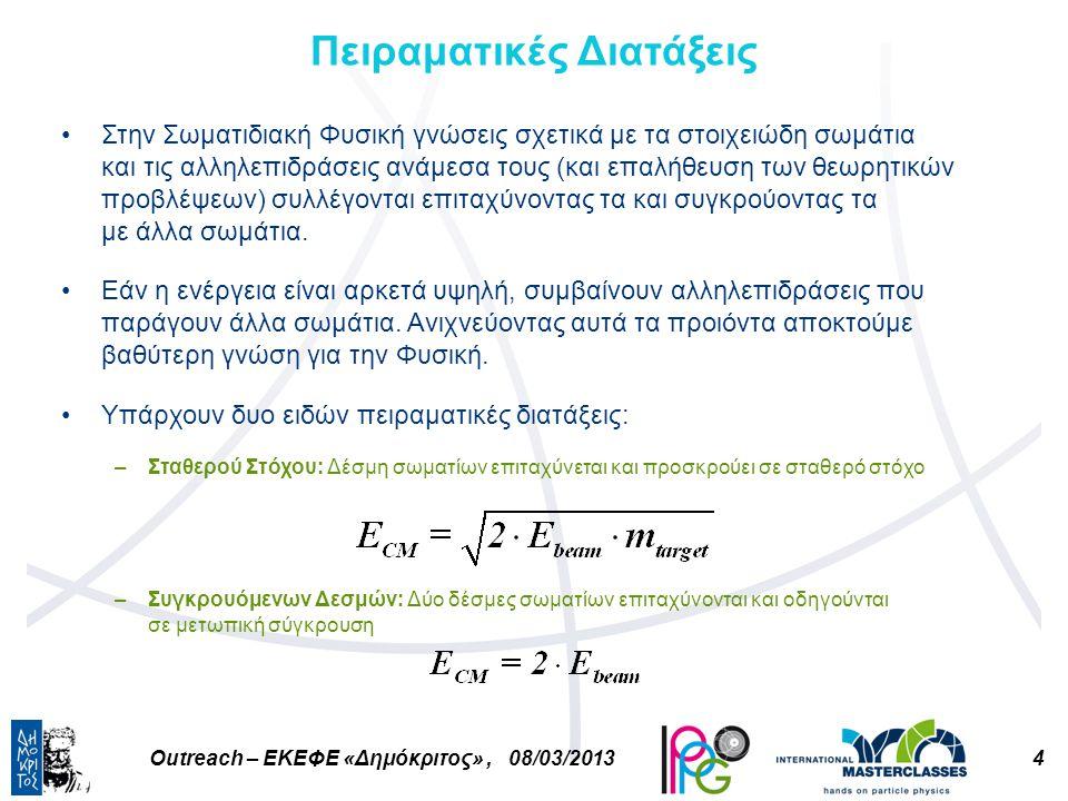 4Outreach – ΕΚΕΦΕ «Δημόκριτος», 08/03/2013 Πειραματικές Διατάξεις Στην Σωματιδιακή Φυσική γνώσεις σχετικά με τα στοιχειώδη σωμάτια και τις αλληλεπιδράσεις ανάμεσα τους (και επαλήθευση των θεωρητικών προβλέψεων) συλλέγονται επιταχύνοντας τα και συγκρούοντας τα με άλλα σωμάτια.