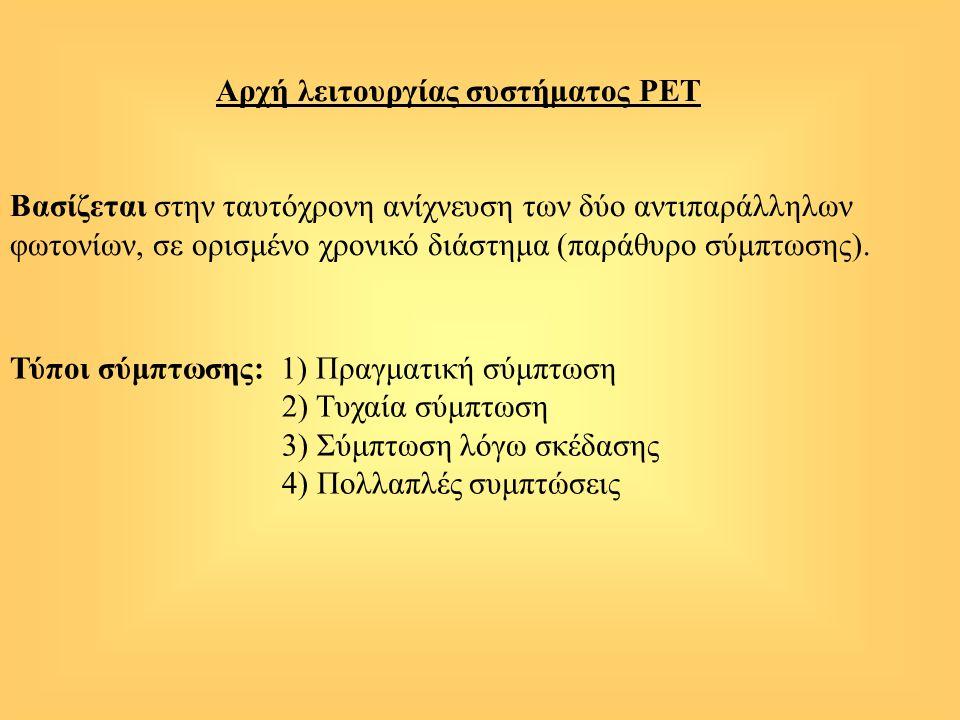 Αρχή λειτουργίας συστήματος PEΤ Βασίζεται στην ταυτόχρονη ανίχνευση των δύο αντιπαράλληλων φωτονίων, σε ορισμένο χρονικό διάστημα (παράθυρο σύμπτωσης)