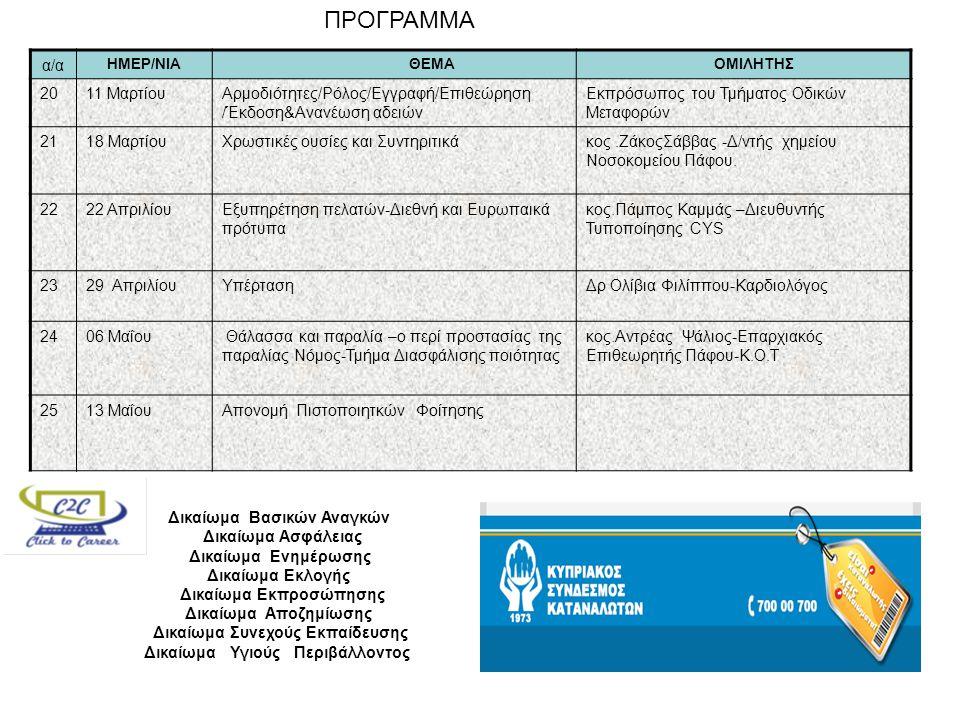 ΠΡΟΓΡΑΜΜΑ α/α ΗΜΕΡ/ΝΙΑ ΘΕΜΑ ΟΜΙΛΗΤΗΣ 2011 ΜαρτίουΑρμοδιότητες/Ρόλος/Εγγραφή/Επιθεώρηση /Έκδοση&Ανανέωση αδειών Eκπρόσωπος του Τμήματος Οδικών Μεταφορών 2118 ΜαρτίουΧρωστικές ουσίες και Συντηριτικάκος.ΖάκοςΣάββας -Δ/ντής χημείου Νοσοκομείου Πάφου.